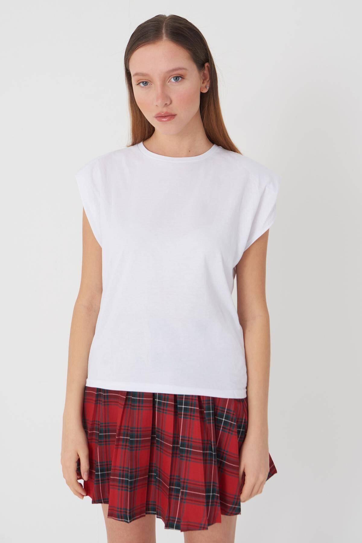 Addax Kadın Beyaz Vatkalı T-Shirt P18802 - F5 Adx-0000022431 3