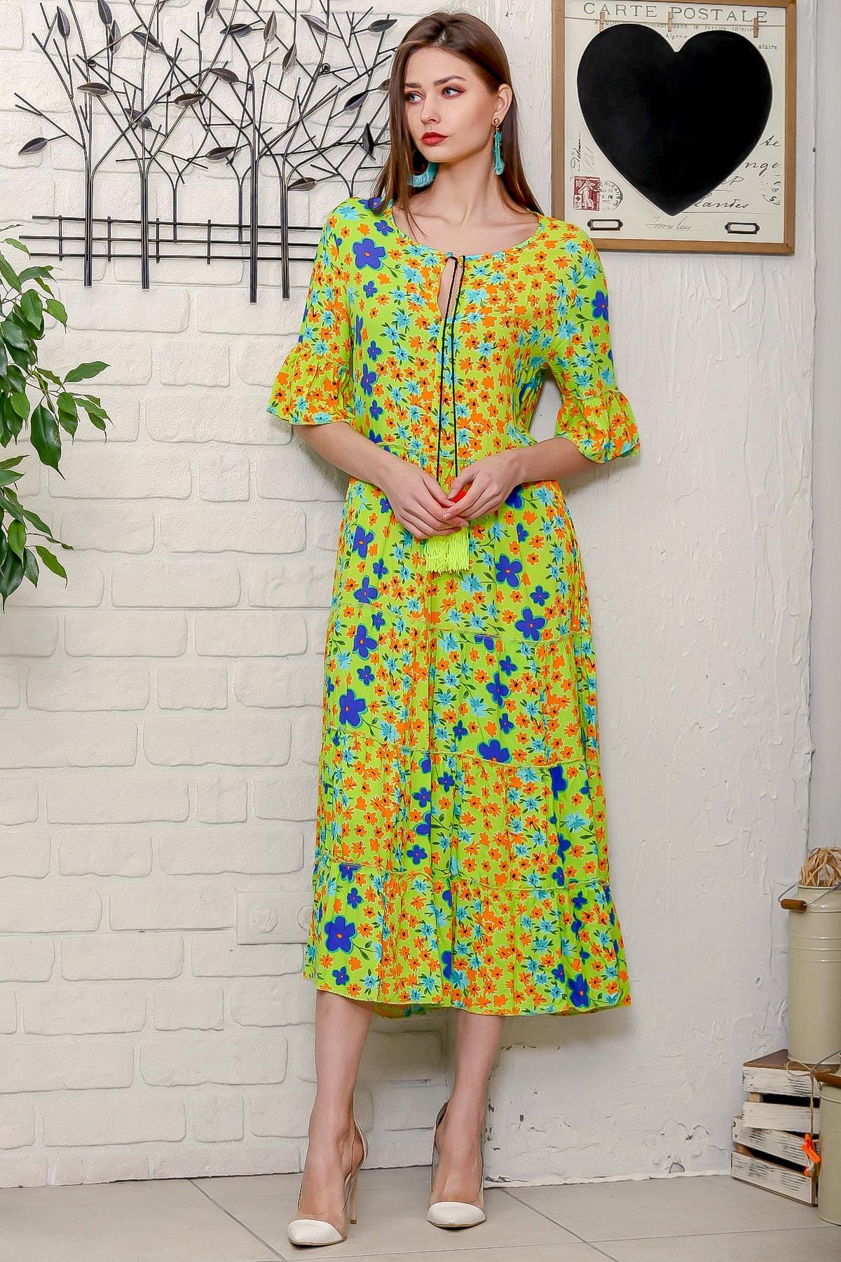 Chiccy Kadın Fıstık Yeşili Mor Menekşe Desenli Püskül Bağcıklı Kat Kat Salaş Uzun Elbise 2