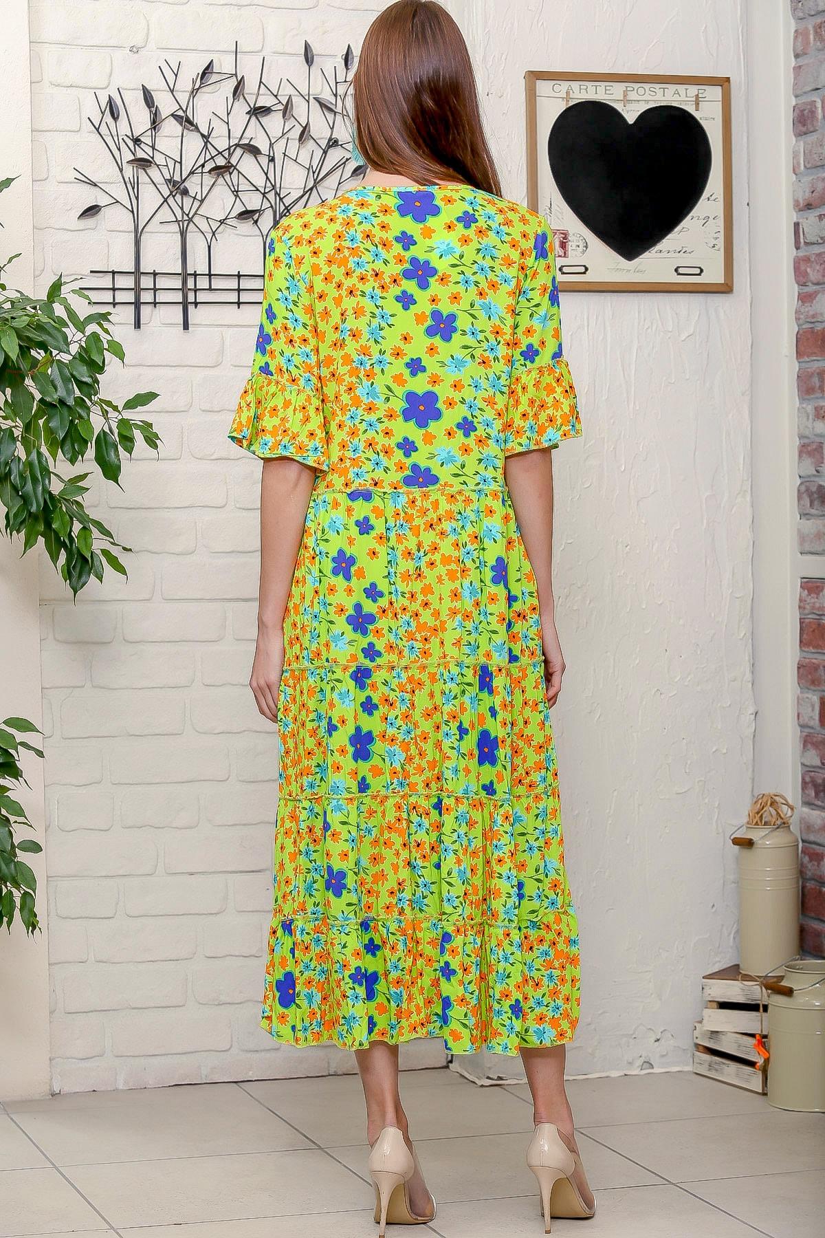 Chiccy Kadın Fıstık Yeşili Mor Menekşe Desenli Püskül Bağcıklı Kat Kat Salaş Uzun Elbise 4