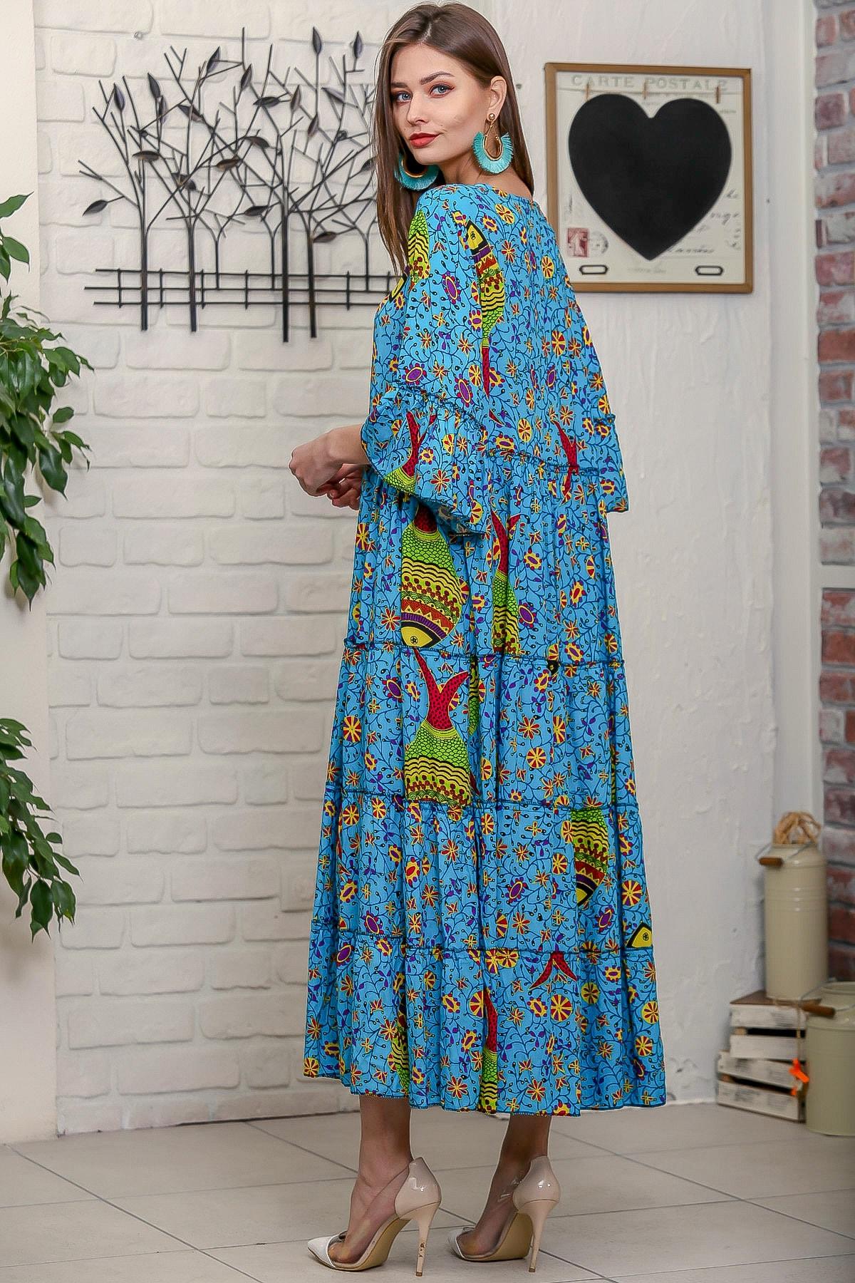 Chiccy Kadın Mavi Çini Balık Desenli Püskül Bağcıklı Kat Kat Salaş Uzun Elbise 4