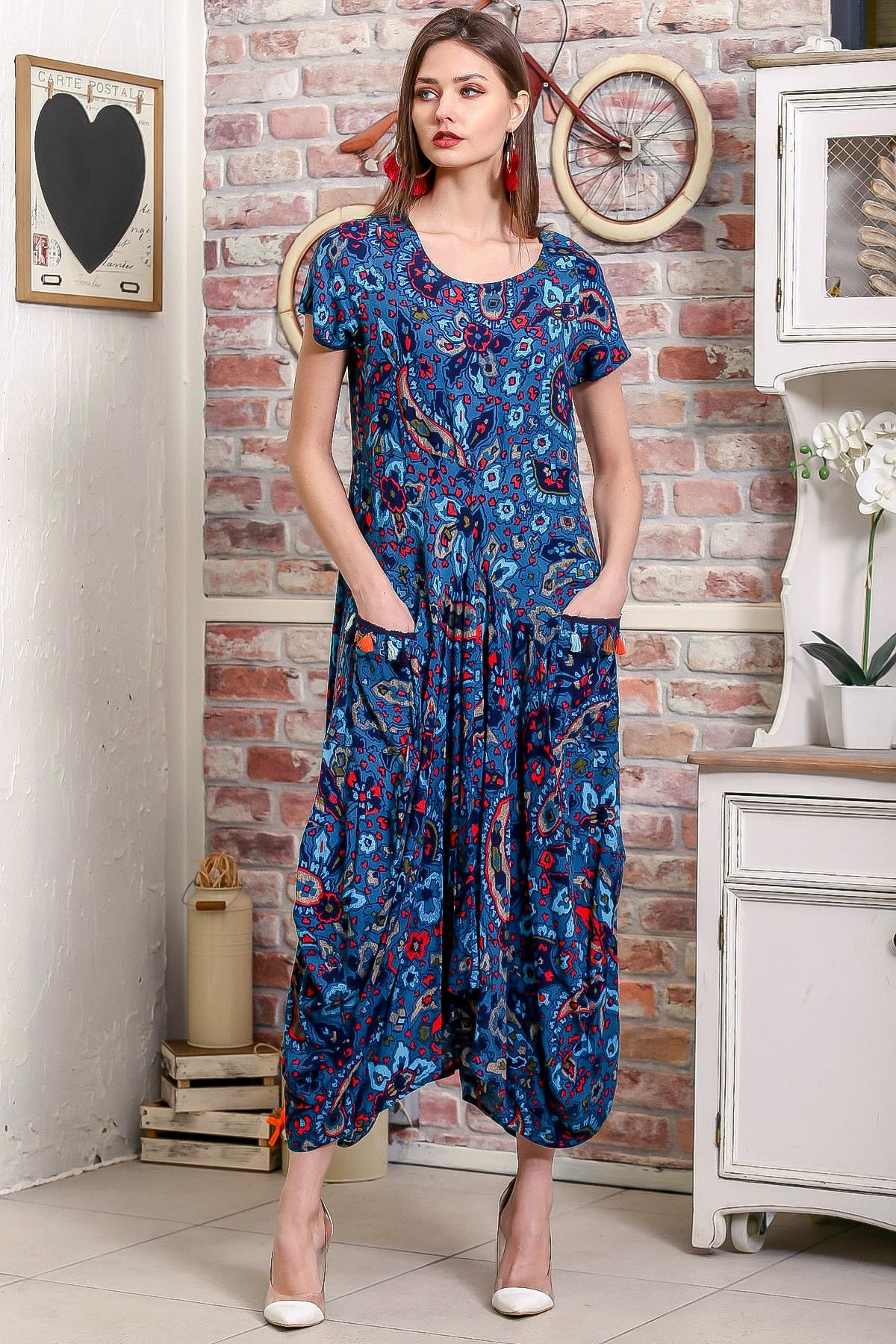 Chiccy Kadın Petrol Mavi Bohem Şal Desen Asimetrik Cepleri Püskül Detaylı Dokuma Elbise 0