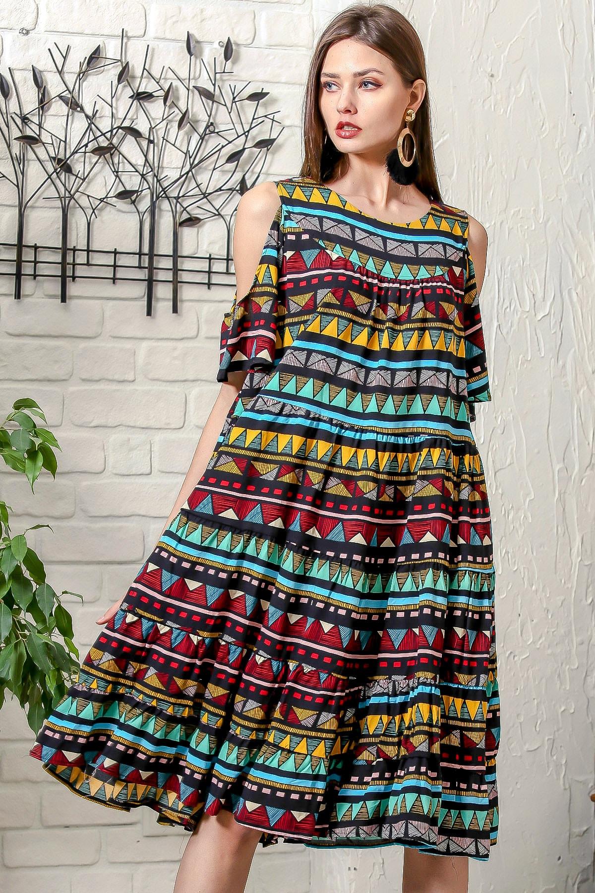 Kadın Siyah Omuzları Pencereli Tribal Desen Salaş Dokuma Elbise