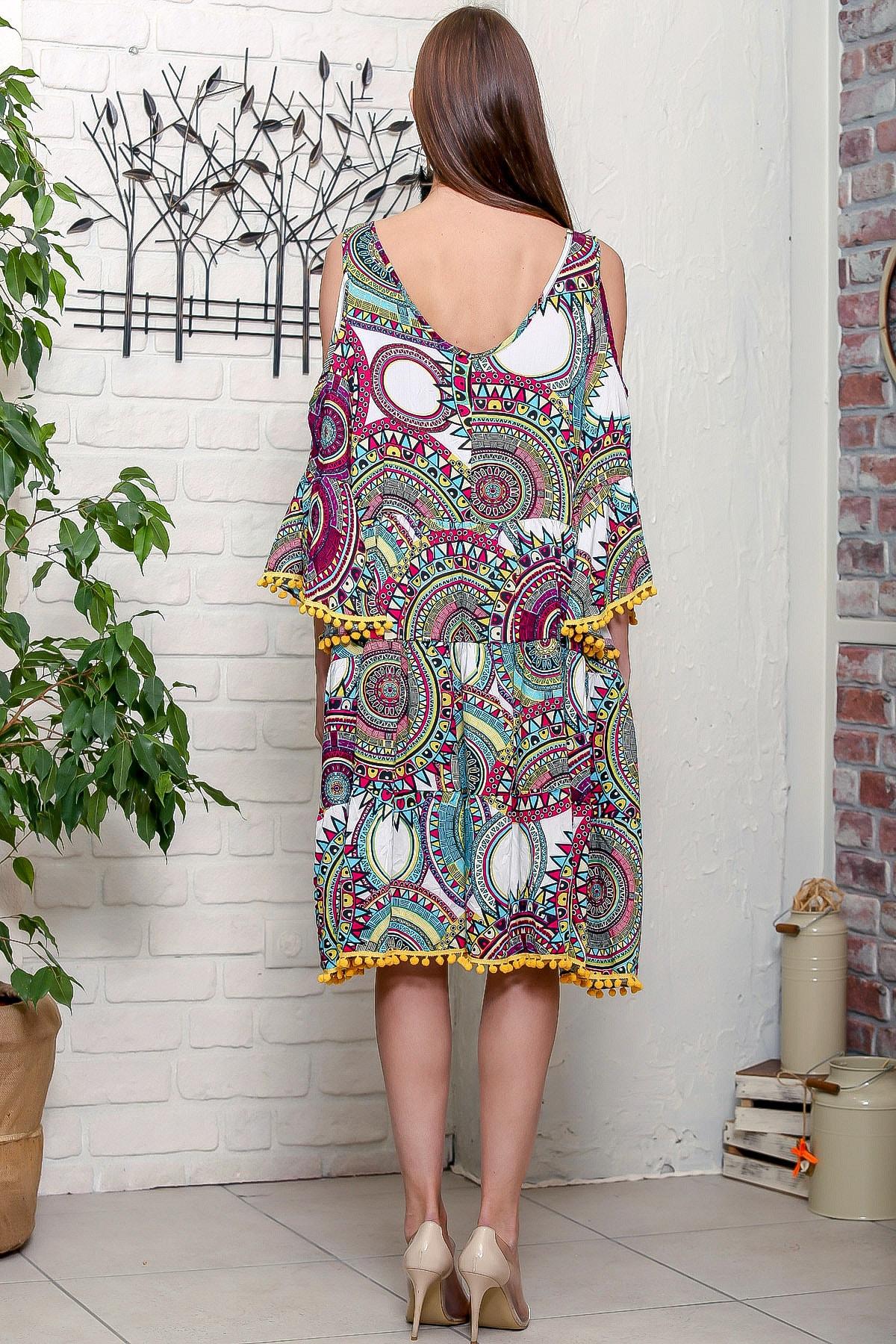 Chiccy Kadın Yeşil Omuzları Pencereli Geometrik Desen Kolları Volanlı Ponponlu Salaş Elbise 4