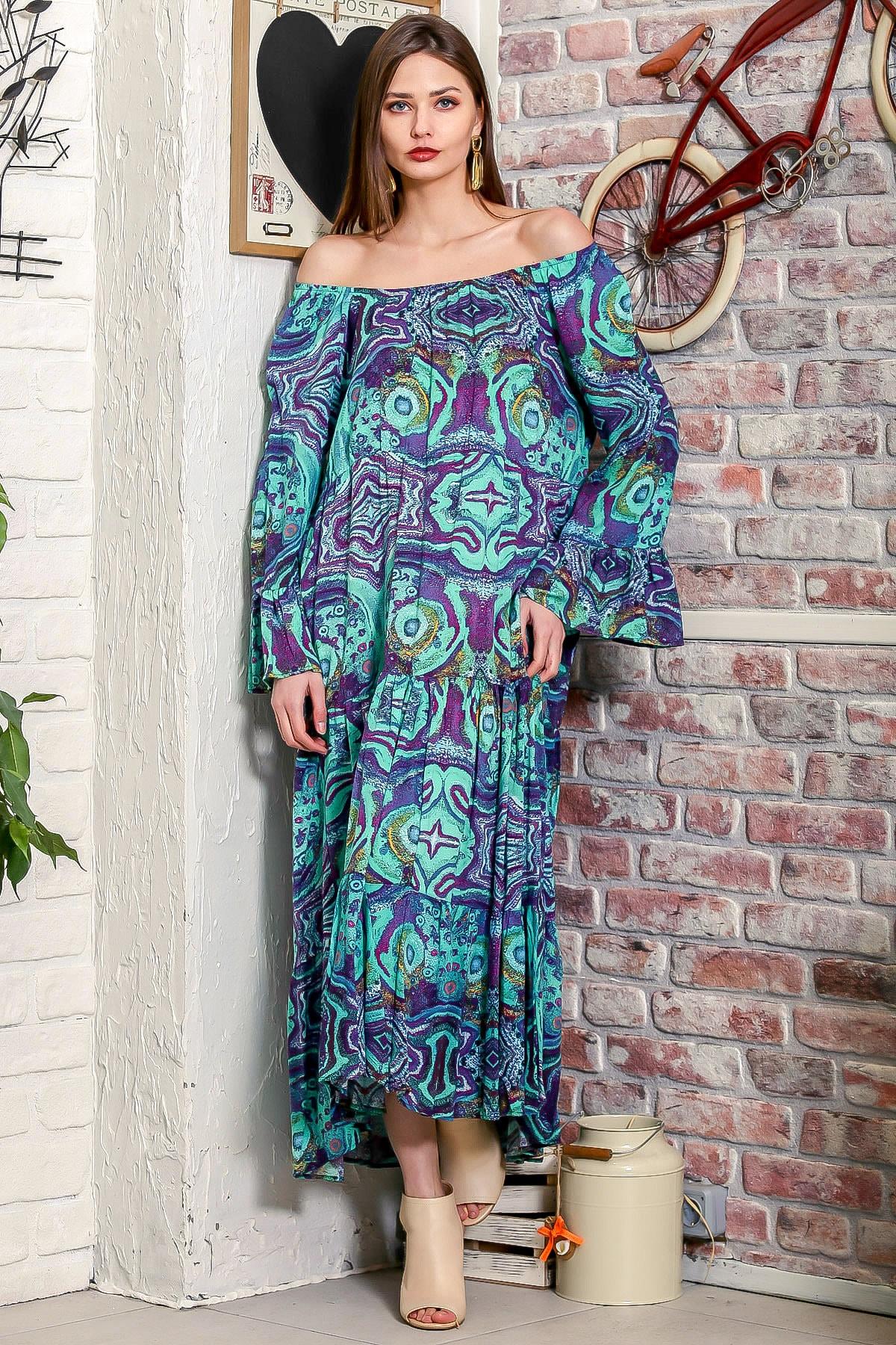 Chiccy Kadın Yeşil Carmen Yaka Sulu Boya Desenli Kol Ucu Volanlı Salaş Dokuma Elbise M10160000EL95906 1