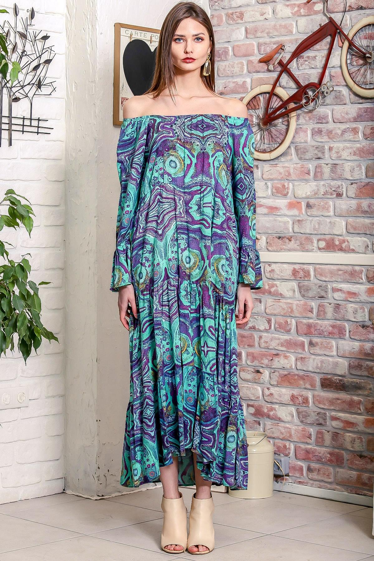 Chiccy Kadın Yeşil Carmen Yaka Sulu Boya Desenli Kol Ucu Volanlı Salaş Dokuma Elbise M10160000EL95906 3
