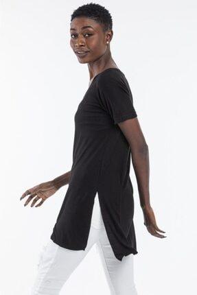 The Base Kadın Siyah V Yaka Yarım Kol Yırtmaçlı Basic Salaş TShirt 1