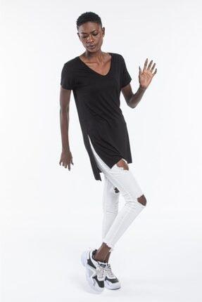 The Base Kadın Siyah V Yaka Yarım Kol Yırtmaçlı Basic Salaş TShirt 2