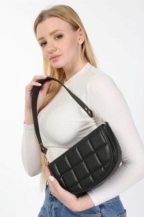 meyoubags Kadın Siyah Kapaklı Oval Baget Omuz Çantası 1