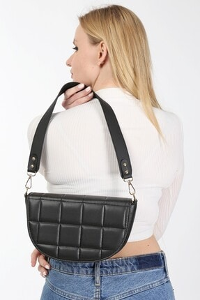 meyoubags Kadın Siyah Kapaklı Oval Baget Omuz Çantası 3