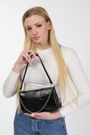 meyoubags Kadın Siyah Kroko Desen Baget Askılı Zincirli Omuz Çantası 1