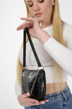 meyoubags Kadın Siyah Kroko Desen Baget Askılı Zincirli Omuz Çantası 2