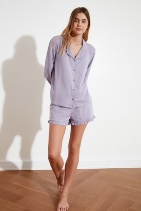 TRENDYOLMİLLA Lila Fırfır Detaylı Örme Pijama Takımı THMAW21PT0138 1
