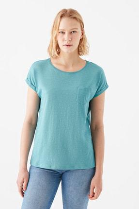 Mavi Cepli Yeşil Basic Tişört 3