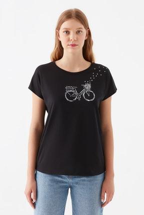 Mavi Bisiklet Baskılı Siyah Tişört 2