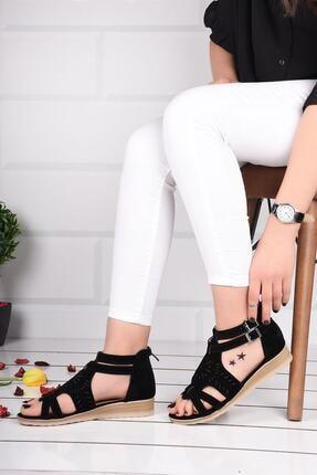 mihra home Kadın Siyah Süet Fermuarlı Sandalet Terlik 1