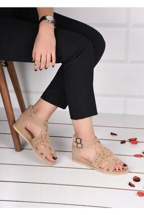 mihra home Kadın Krem Süet Fermuarlı Sandalet Terlik 0