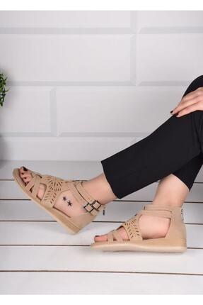mihra home Kadın Krem Süet Fermuarlı Sandalet Terlik 1
