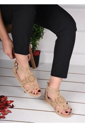 mihra home Kadın Krem Süet Fermuarlı Sandalet Terlik 2