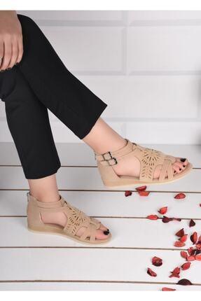 mihra home Kadın Krem Süet Fermuarlı Sandalet Terlik 3
