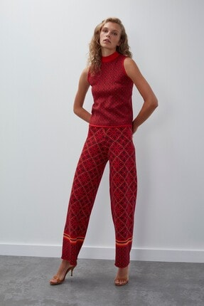Join Us Kadın Kırmızı Multi Desenli Kolsuz Simli Triko Bluz 2