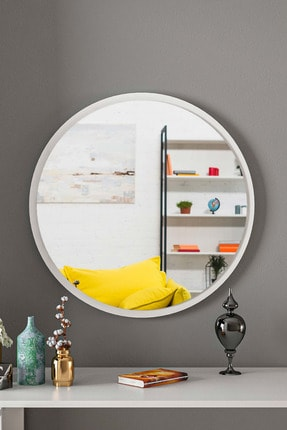 bluecape Yuvarlak Beyaz Duvar Salon Ofis Aynası 60cm 1