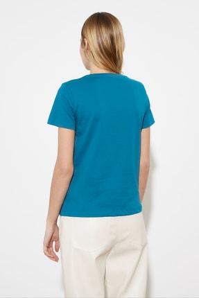 TRENDYOLMİLLA Petrol Basic Nakışlı Örme T-Shirt TWOSS21TS0377 4