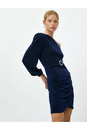 Koton Kadın Tek Omuz Elbise Abiye Metalik Kemer Detayli Kisa 1