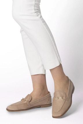 Marjin Kadın Bej Süet Loafer Ayakkabı Denosa 1