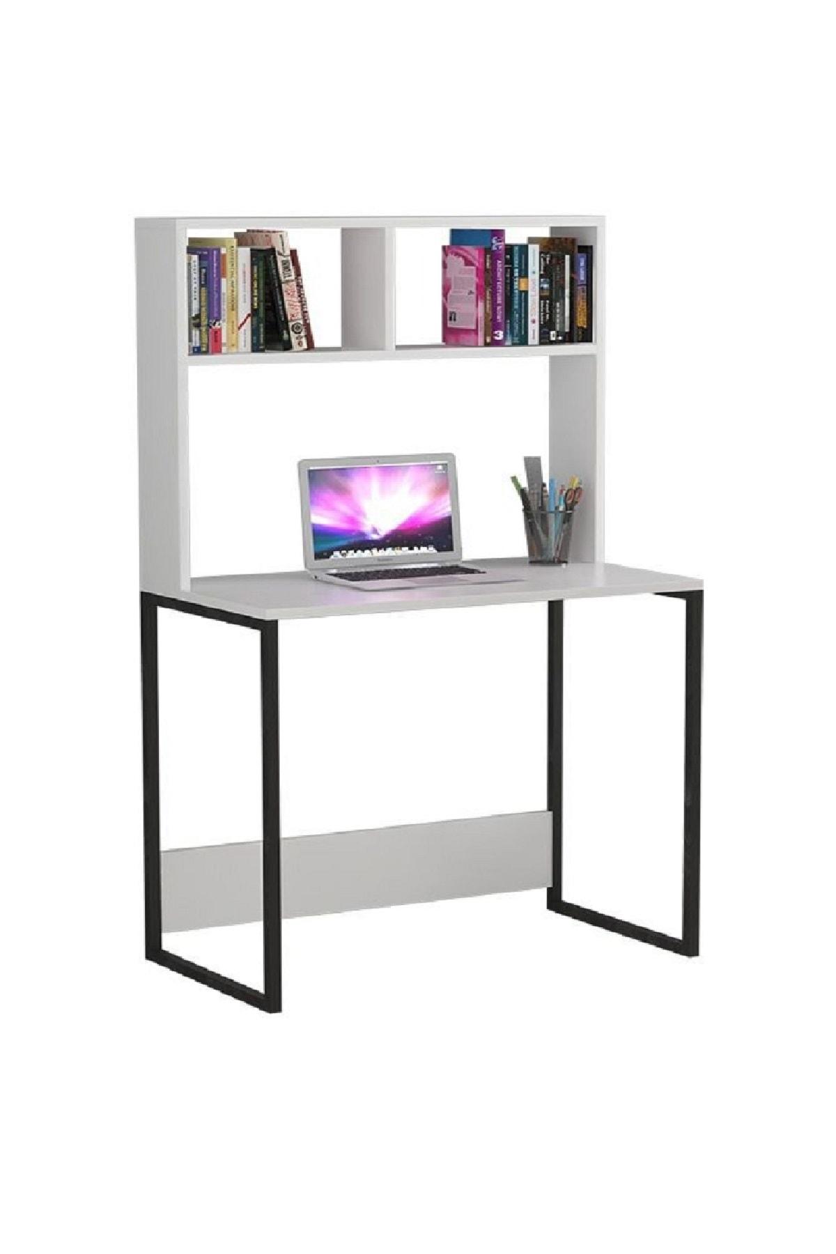 Platinreyon Demir Ayaklı 2 Raflı Çalışma Masası Bilgisayar Masası Beyaz 2