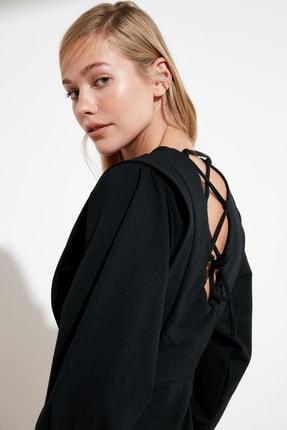 TRENDYOLMİLLA Siyah Sırt Bağlamalı Örme Elbise TWOSS21EL0484 4