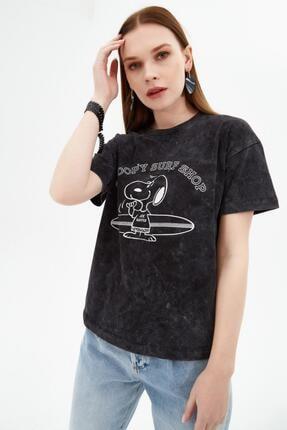 Pattaya Kadın Siyah Snoop'y Baskılı Kısa Kollu Örme T-Shirt P21s201-2097 0