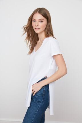 IŞILDA Kadın Yanları Yırtmaçlı Kısa Kol Basic Tshirt 2