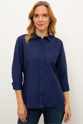 US Polo Assn Lacivert Kadın Dokuma Gömlek 0