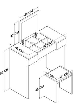 TOCCO Aynalı Çekmeceli Lüx Makyaj Masası 1080 4