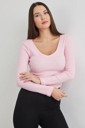 dcollection Kadın Pembe V Yaka Crop Top Bluz 1