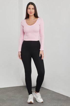 dcollection Kadın Pembe V Yaka Crop Top Bluz 2