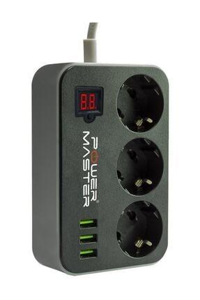 Powermaster Pm-18530 3 Usb Çıkışlı 3'lü 10a-2500 W 1.8 Metre Kablolu Akım Korumalı Priz 1
