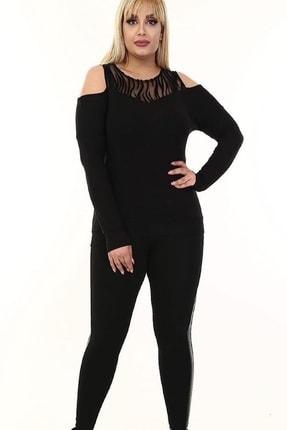 Şirin Butik Kadın Siyah Omuz Detaylı Büyük Beden Viskon Bluz 1