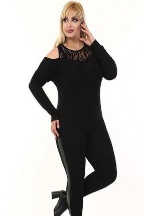 Şirin Butik Kadın Siyah Omuz Detaylı Büyük Beden Viskon Bluz 2