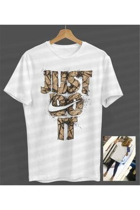 NVM Tekstil Unisex Kadın-erkek Just Do It Tasarım Beyaz Yuvarlak Yaka T-shirt 0