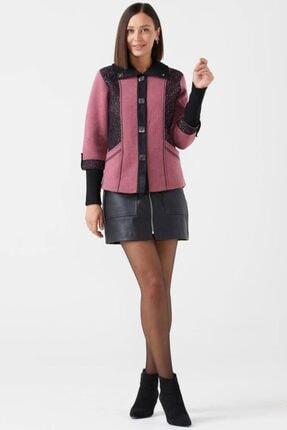 Sementa Kadın Polo Yaka Düğmeli Triko Ceket - Gül - Siyah 0