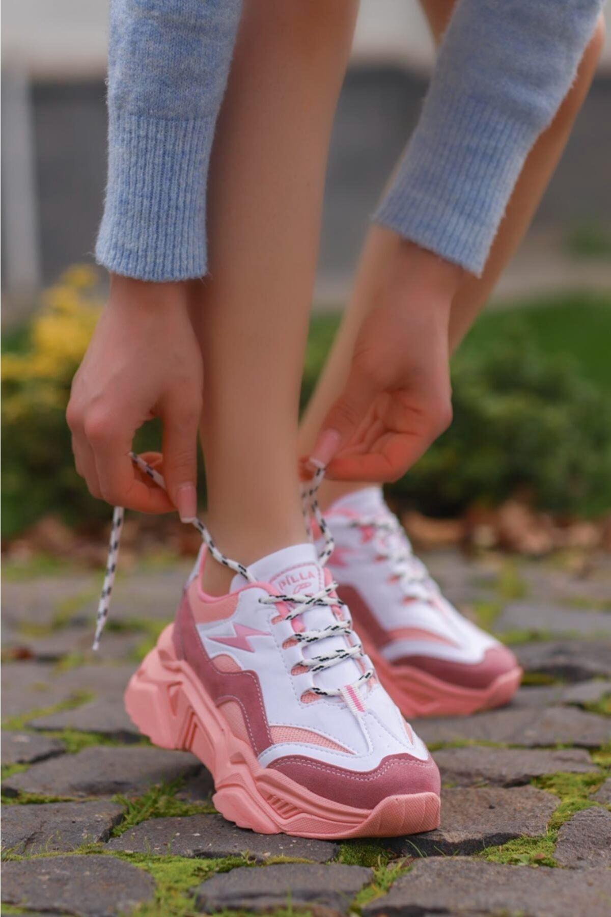 Kadın Pudra Beyaz Bağcıklı Dolgu Taban Ayakkabı