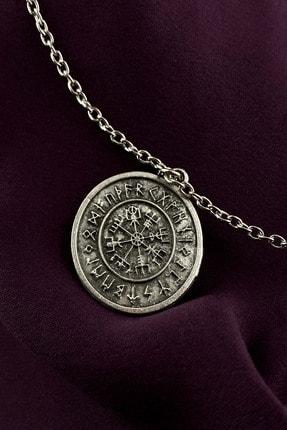 MOONİ ACCESSORİES Unisex Gümüş Viking Pusulası Kaplama Zincir Kolye 1