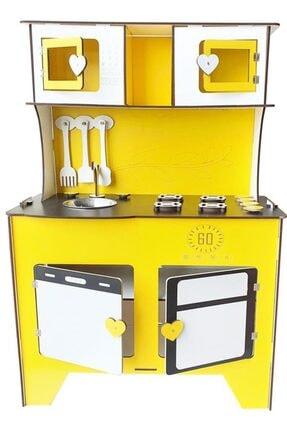 WoodyLife 104 cm Çocuk Odası Ahşap Mutfak Montessori Oyuncak Dolabı Sarı Zeytindalı Oyunevi Kutu 3