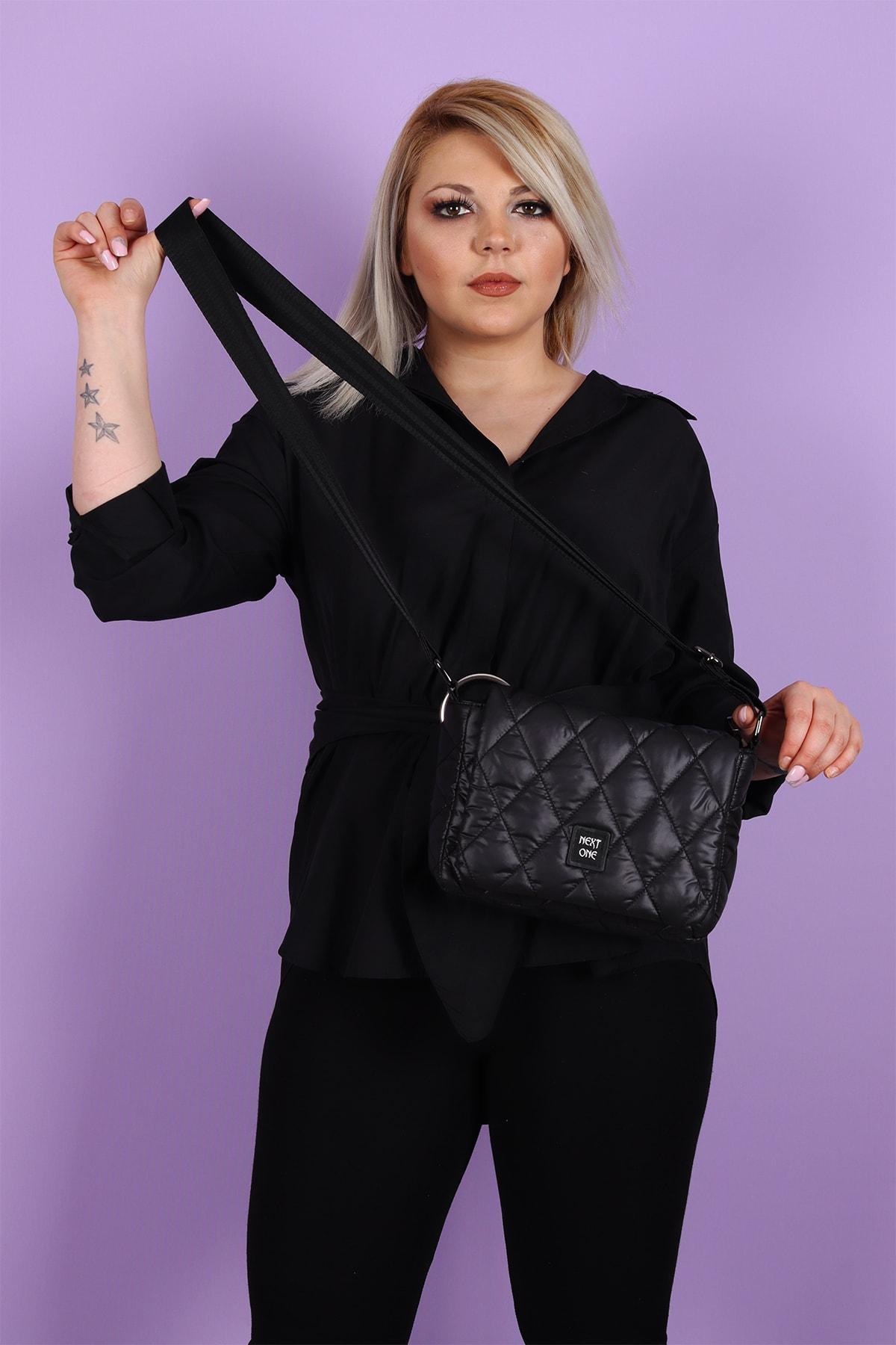 Kadın Siyah Marsala Şişme Kapaklı Çapraz Kol/omuz Çantası