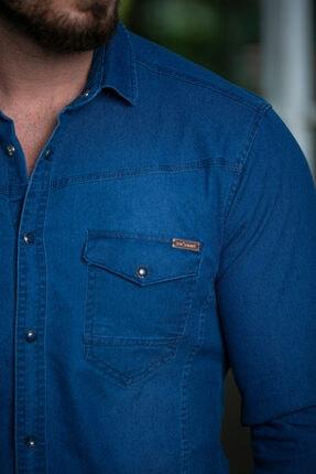 BAYEFENDİ Erkek Mavi Slim Fit Cepli Likralı Kot Gömlek 3