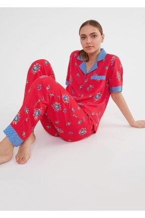 Suwen Kadın Kirmizi Baskili Vilma Maskulen Pijama Takımı 2