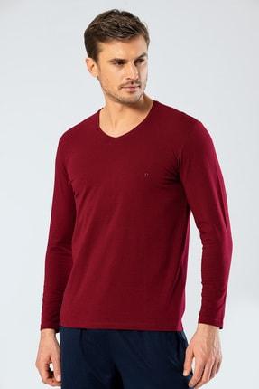 تصویر از Erkek Bordo V Yaka Uzun Kollu T-Shirt