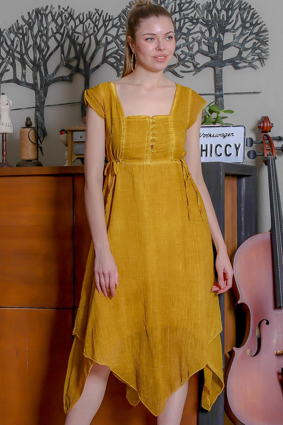Chiccy Kadın Hardal Kare Yaka Düğme Detaylı Yanı Bağlamalı Asimetrik Yıkamalı Elbise M10160000EL95344 0