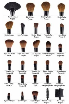 MUJGAN Simli Mavi Renk Örgü Sap Makyaj Fırça Seti  10'lu 1
